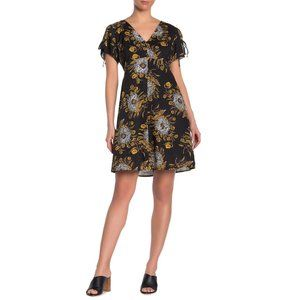Madewell Flutter Sleeve Dress in Painted Blooms 00
